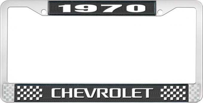 OER 1970 Chevrolet Style # 3 Black and Chrome License Plate Frame with White Lettering LF2237003A