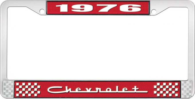 OER 1976 Chevrolet Red and Chrome License Plate Frame with White Lettering *LF2237605C