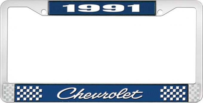 OER 1991 Chevrolet Style # 4 Blue and Chrome License Plate Frame with White Lettering LF2239104B