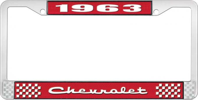 OER 1963 Chevrolet Style #2 Red and Chrome License Plate Frame with White Lettering LF2236302C