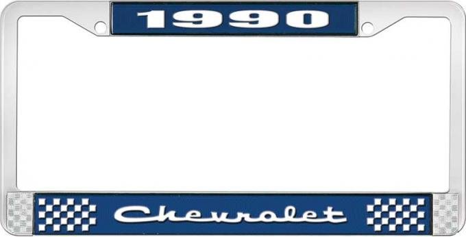 OER 1990 Chevrolet Style # 2 Blue and Chrome License Plate Frame with White Lettering LF2239002B