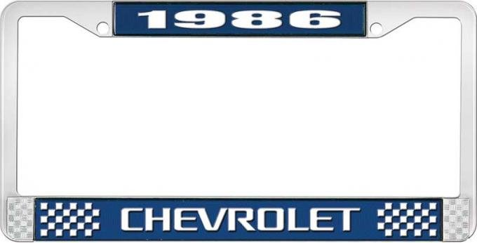 OER 1986 Chevrolet Style # 3 Blue and Chrome License Plate Frame with White Lettering LF2238603B