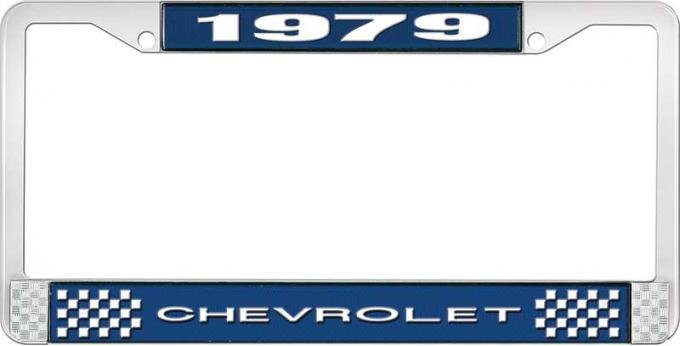 OER 1979 Chevrolet Style # 1 Blue and Chrome License Plate Frame with White Lettering LF2237901B