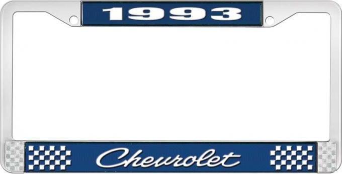 OER 1993 Chevrolet Style # 4 Blue and Chrome License Plate Frame with White Lettering LF2239304B