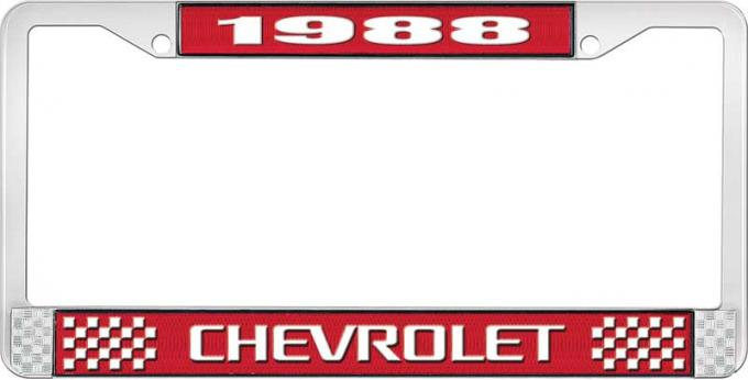OER 1988 Chevrolet Style # Red and Chrome License Plate Frame with White Lettering LF2238803C