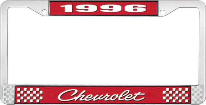 OER 1996 Chevrolet Style # 4 Red and Chrome License Plate Frame with White Lettering LF2239604C