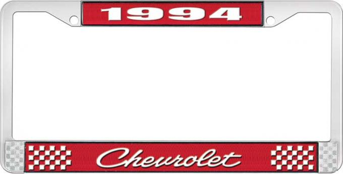 OER 1994 Chevrolet Style # 4 Red and Chrome License Plate Frame with White Lettering LF2239404C