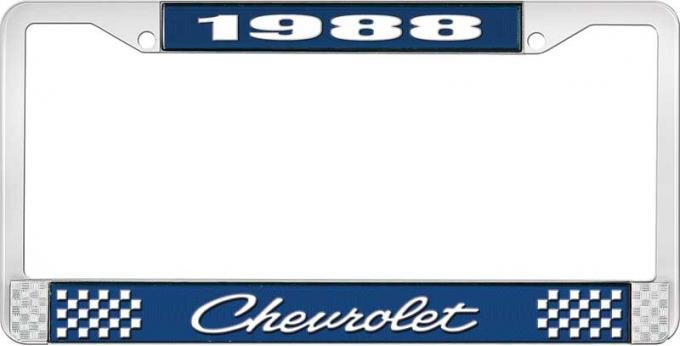 OER 1988 Chevrolet Blue and Chrome License Plate Frame with White Lettering LF2238804B