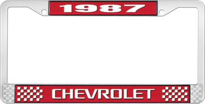 OER 1987 Chevrolet Style # 3 Red and Chrome License Plate Frame With White Lettering LF2238703C