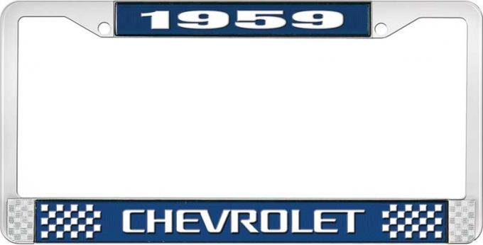 OER 1959 Chevrolet Style #3 Blue and Chrome License Plate Frame with White Lettering LF2235903B