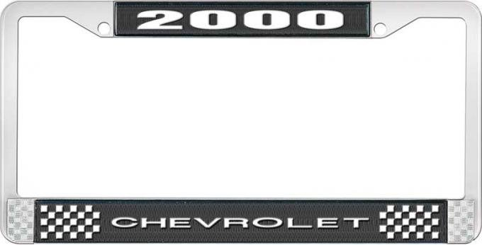 OER 2000 Chevrolet Style # 1 - Black and Chrome License Plate Frame with White Lettering LF2230001A