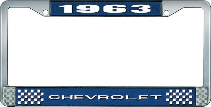 OER 1963 Chevrolet Style #1 Blue and Chrome License Plate Frame with White Lettering LF2236301B