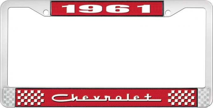 OER 1961 Chevrolet Style #5 - Red and Chrome License Plate Frame with White Lettering *LF2236105C