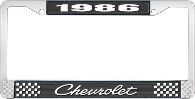 OER 1986 Chevrolet Style # 4 Black and Chrome License Plate Frame with White Lettering LF2238604A