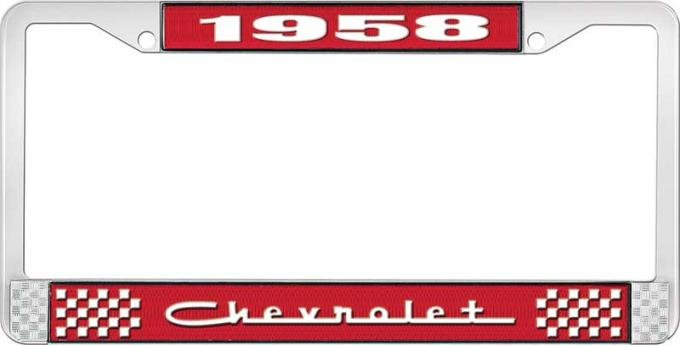 OER 1958 Chevrolet Style #5 Red and Chrome License Plate Frame with White Lettering LF2235805C
