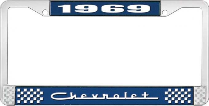 OER 1969 Chevrolet Style # 5 Blue and Chrome License Plate Frame with White Lettering LF2236905B