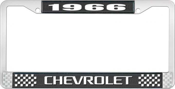 OER 1966 Chevrolet Style #3 Black and Chrome License Plate Frame with White Lettering LF2236603A