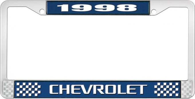 OER 1998 Chevrolet Style # 3 Blue and Chrome License Plate Frame with White Lettering LF2239803B