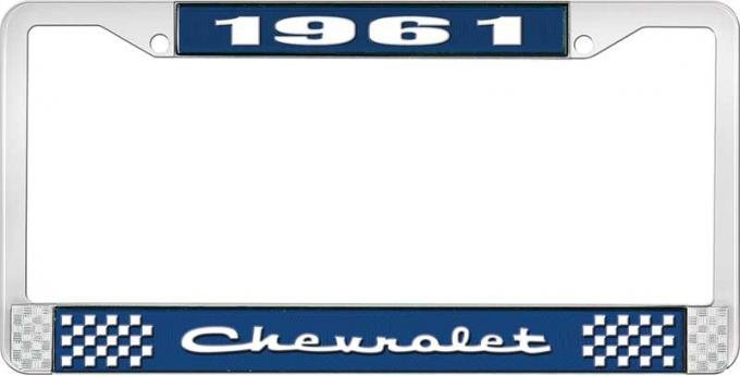 OER 1961 Chevrolet Style #2 Blue and Chrome License Plate Frame with White Lettering LF2236102B