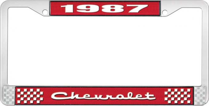 OER 1987 Chevrolet Style # 2 Red and Chrome License Plate Frame with White Lettering LF2238702C