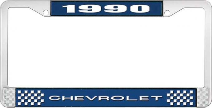 OER 1990 Chevrolet Style # 1 Blue and Chrome License Plate Frame with White Lettering LF2239001B