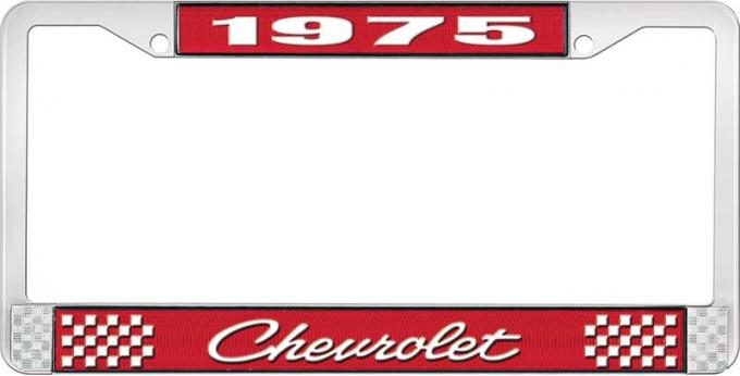 OER 1975 Chevrolet Style # 4 Red and Chrome License Plate Frame with White Lettering LF2237504C