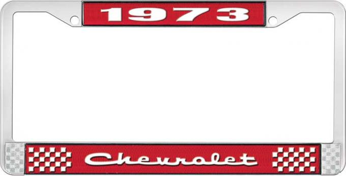 OER 1973 Chevrolet Style # 2 Red and Chrome License Plate Frame with White Lettering LF2237302C