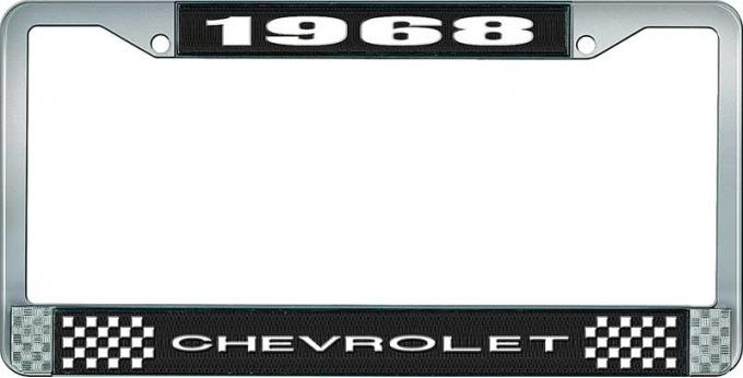 OER 1968 Chevrolet Style #1 Black and Chrome License Plate Frame with White Lettering LF2236801A