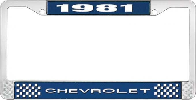 OER 1981 Chevrolet Style # 1 Blue and Chrome License Plate Frame with White Lettering LF2238101B