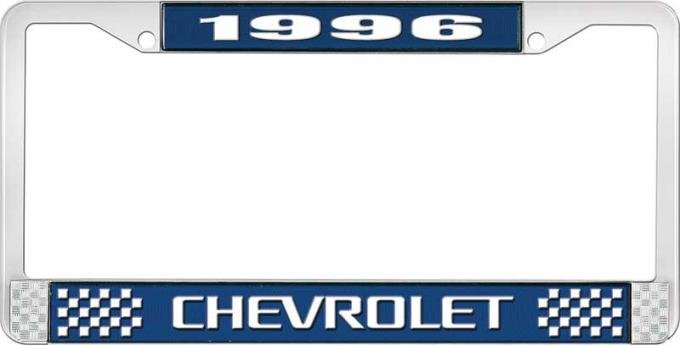 OER 1996 Chevrolet Style # 3 Blue and Chrome License Plate Frame with White Lettering LF2239603B