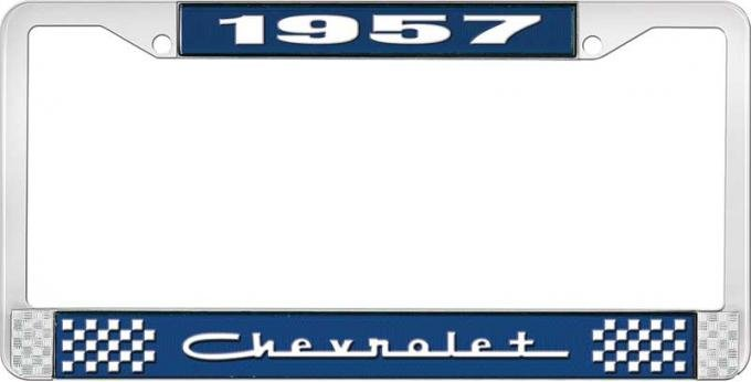 OER 1957 Chevrolet Style #5 Blue and Chrome License Plate Frame with White Lettering LF2235705B