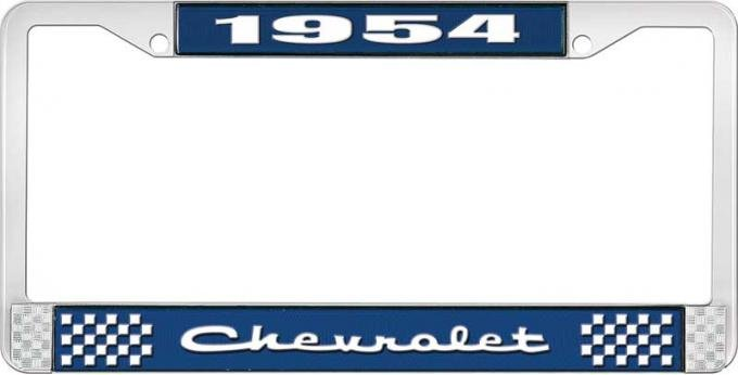 OER 1954 Chevrolet Style #2 Blue and Chrome License Plate Frame with White Lettering LF2235402B