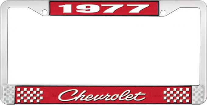 OER 1977 Chevrolet Style # 4 Red and Chrome License Plate Frame with White Lettering LF2237704C