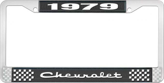 OER 1979 Chevrolet Style # 2 Black and Chrome License Plate Frame with White Lettering LF2237902A