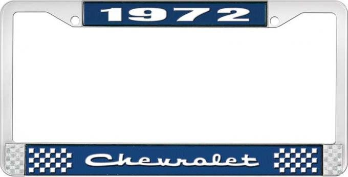 OER 1972 Chevrolet Style # 2 Blue and Chrome License Plate Frame with White Lettering LF2237202B