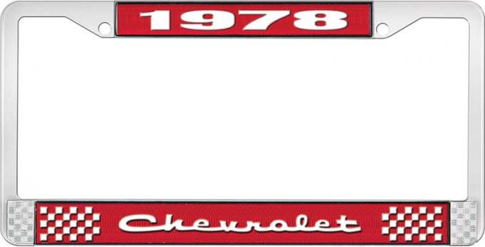 OER 1978 Chevrolet Style # 2 Red and Chrome License Plate Frame with White Lettering LF2237802C