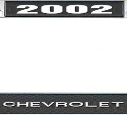 OER 2002 Chevrolet Style #1 - Black and Chrome License Plate Frame with White Lettering *LF2230201A