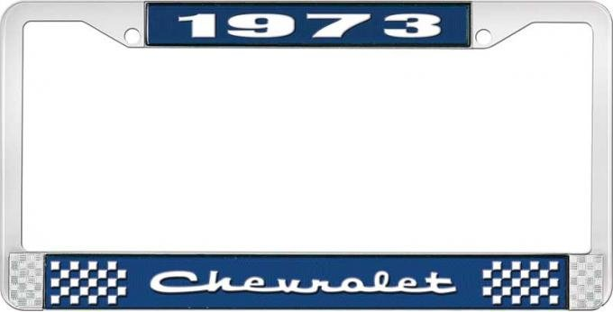 OER 1973 Chevrolet Style # 2 Blue and Chrome License Plate Frame with White Lettering LF2237302B