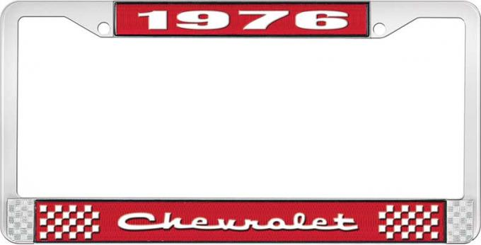 OER 1976 Chevrolet Style # 2 Red and Chrome License Plate Frame with White Lettering LF2237602C