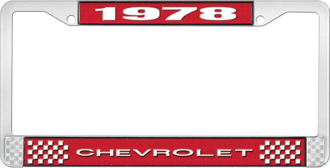 OER 1978 Chevrolet Style # 1 Red and Chrome License Plate Frame with White Lettering LF2237801C