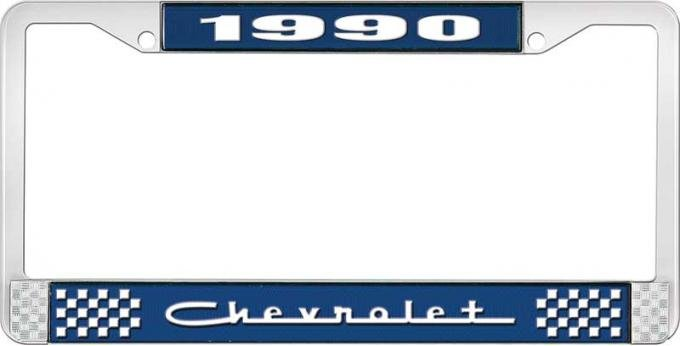 OER 1990 Chevrolet Style # 5 Blue and Chrome License Plate Frame with White Lettering LF2239005B