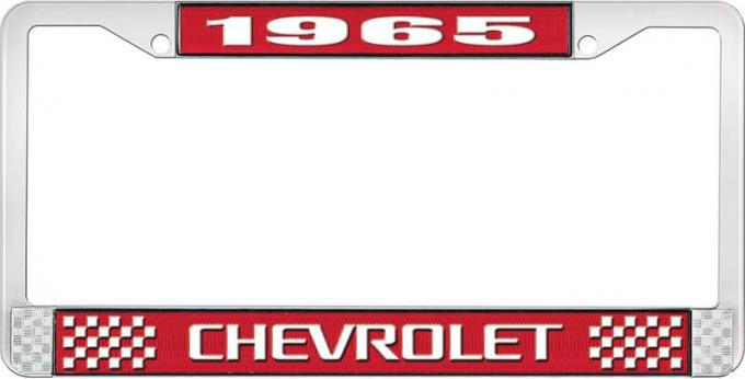 OER 1965 Chevrolet Style #3 Red and Chrome License Plate Frame with White Lettering LF2236503C