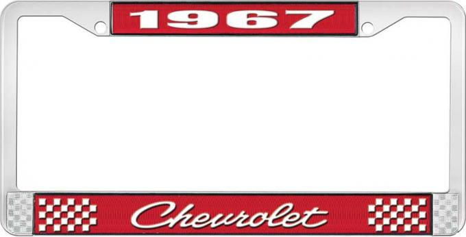 OER 1967 Chevrolet Style #4 Red and Chrome License Plate Frame with White Lettering LF2236704C