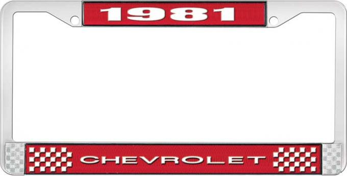OER 1981 Chevrolet Style # 1 Red and Chrome License Plate Frame with White Lettering LF2238101C