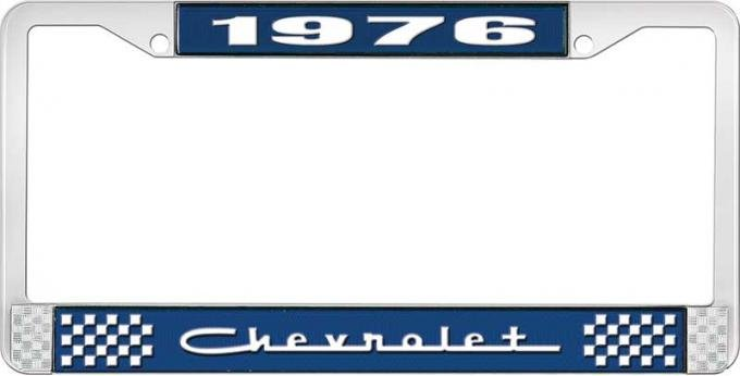 OER 1976 Chevrolet Style # 5 Blue and Chrome License Plate Frame with White Lettering LF2237605B