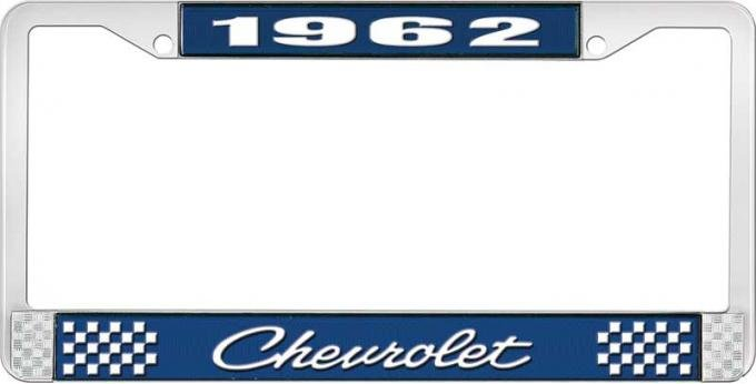 OER 1962 Chevrolet Style #4 Blue and Chrome License Plate Frame with White Lettering LF2236204B