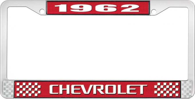OER 1962 Chevrolet Style #3 Red and Chrome License Plate Frame with White Lettering LF2236203C