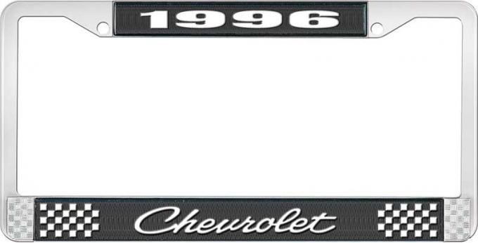 OER 1996 Chevrolet Style # 4 Black and Chrome License Plate Frame with White Lettering LF2239604A