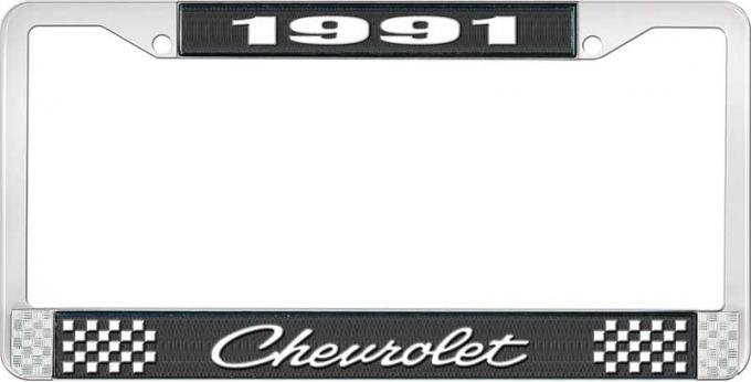 OER 1991 Chevrolet Style # 4 Black and Chrome License Plate Frame with White Lettering LF2239104A
