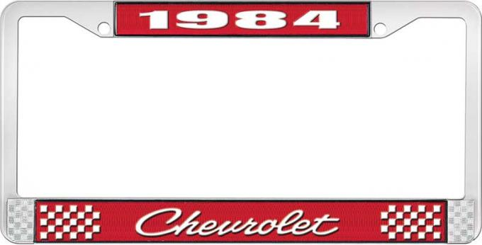 OER 1984 Chevrolet Style # 4 Red and Chrome License Plate Frame with White Lettering LF2238404C